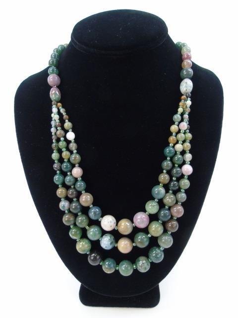 Multi Strand Agate Hardstone Beaded Necklace