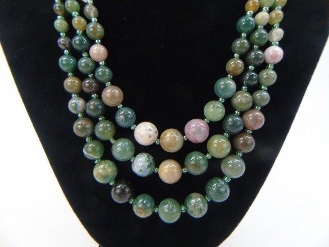 Multi Strand Agate Hardstone Beaded Necklace - 2