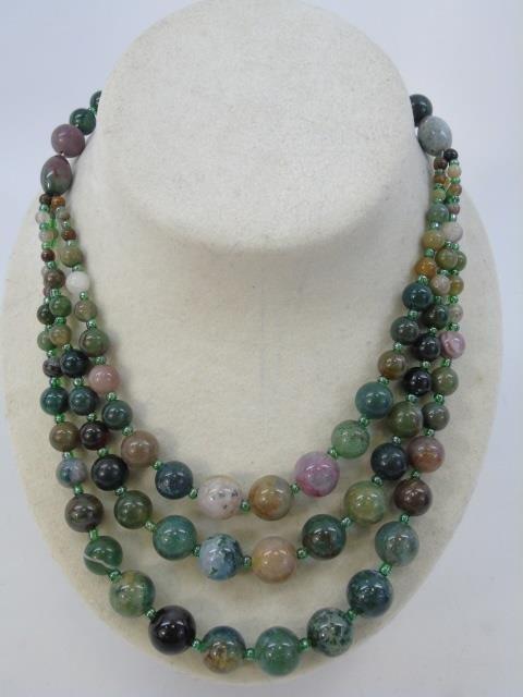 Multi Strand Agate Hardstone Beaded Necklace - 3