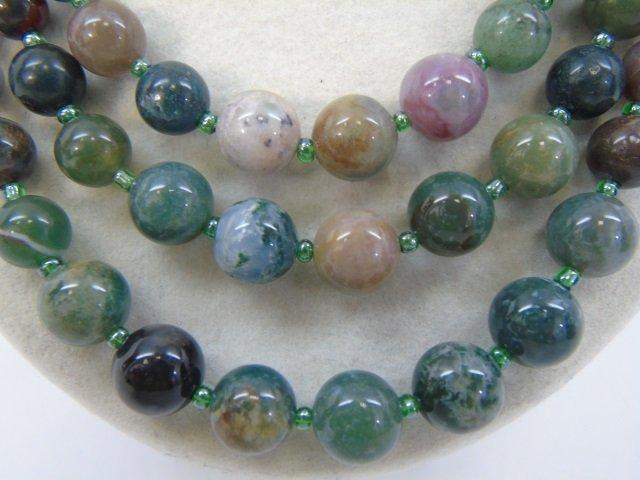 Multi Strand Agate Hardstone Beaded Necklace - 4