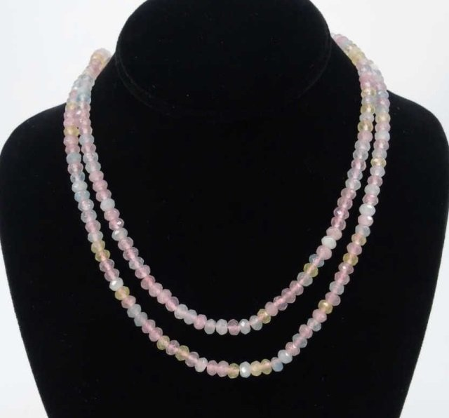 Pair Tourmaline & Topaz Faceted Bead Necklaces