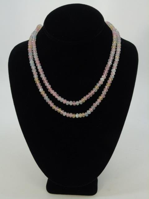 Pair Tourmaline & Topaz Faceted Bead Necklaces - 4