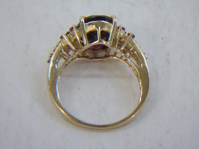 Estate 10k Yellow Gold & Tourmaline Cocktail Ring - 6