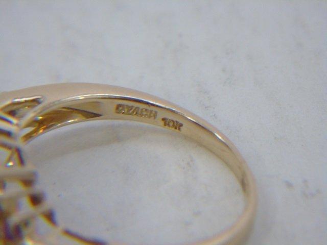 Estate 10k Yellow Gold & Tourmaline Cocktail Ring - 7