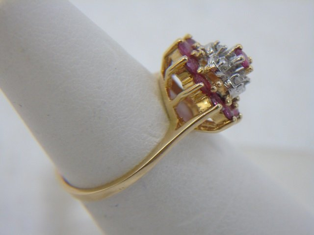 Estate 14kt Yellow Gold Diamond & Ruby Ring - 3