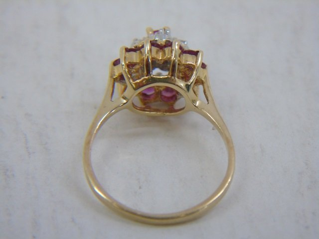 Estate 14kt Yellow Gold Diamond & Ruby Ring - 5