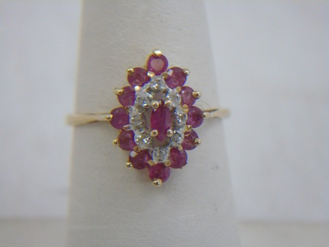 Two Vintage 14kt Yellow Gold Ruby & Diamond Rings - 2