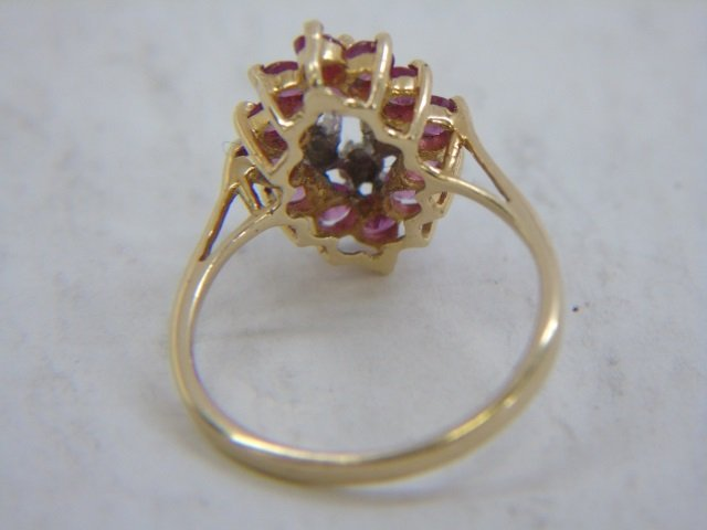 Two Vintage 14kt Yellow Gold Ruby & Diamond Rings - 4