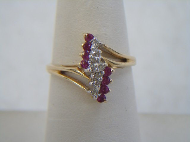 Two Vintage 14kt Yellow Gold Ruby & Diamond Rings - 6