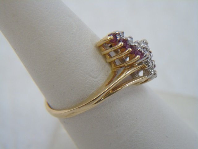 Two Vintage 14kt Yellow Gold Ruby & Diamond Rings - 7
