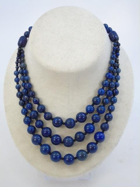 Carved Lapis Lazuli Multi Beaded Necklace