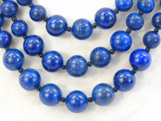 Carved Lapis Lazuli Multi Beaded Necklace - 2