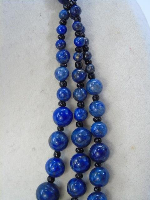 Carved Lapis Lazuli Multi Beaded Necklace - 3