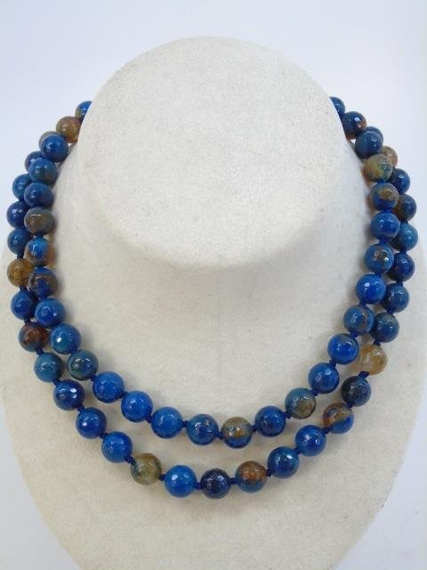 Pair Faceted Opalescent Stone Beaded Necklaces