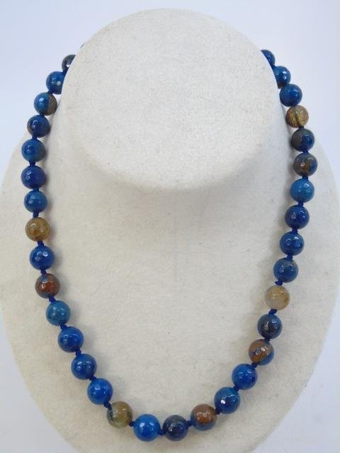 Pair Faceted Opalescent Stone Beaded Necklaces - 2
