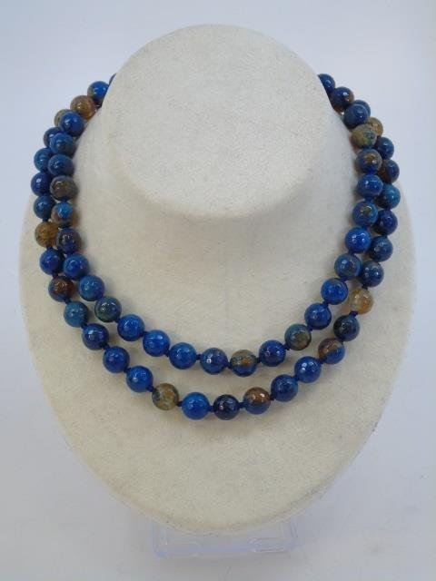 Pair Faceted Opalescent Stone Beaded Necklaces - 3