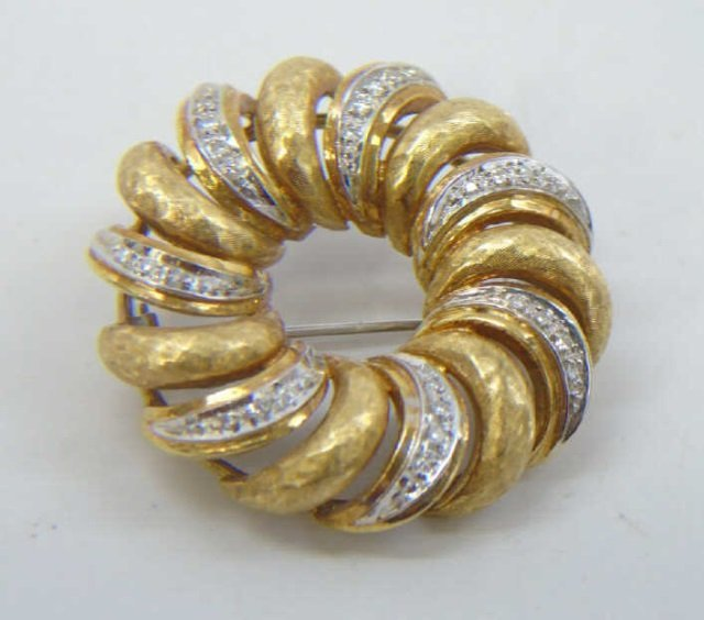 Estate 18kt Yellow & White Gold Diamond Brooch Pin