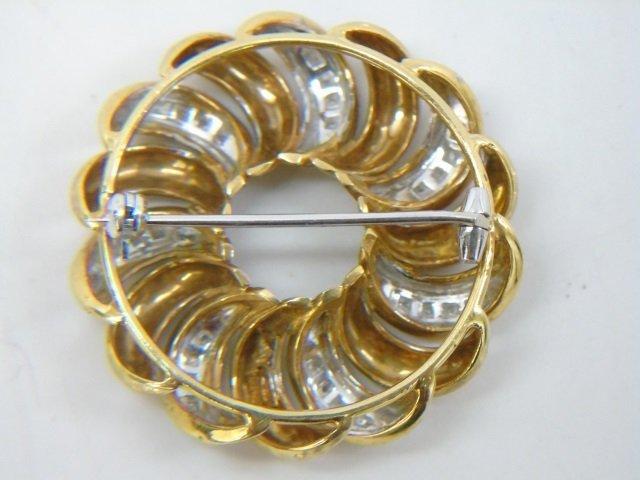 Estate 18kt Yellow & White Gold Diamond Brooch Pin - 2