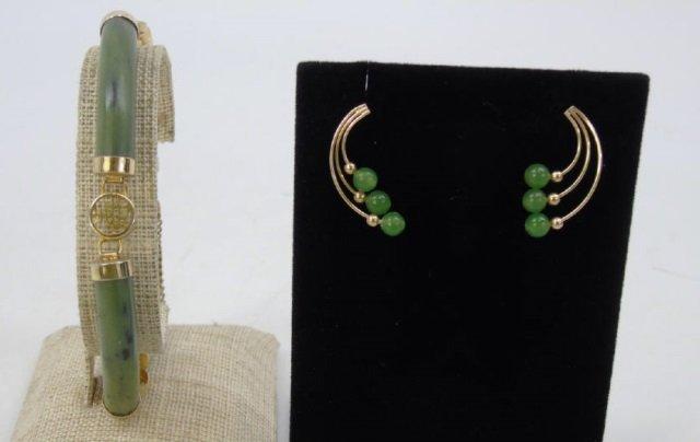 Estate Jade, Soapstone & Gold Bracelet & Earrings