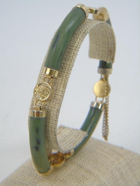 Estate Jade, Soapstone & Gold Bracelet & Earrings - 4