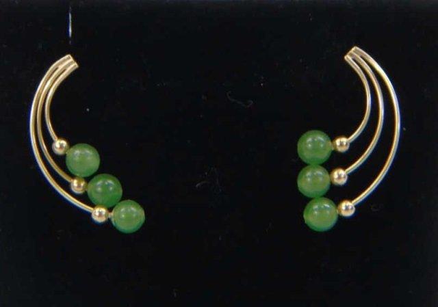 Estate Jade, Soapstone & Gold Bracelet & Earrings - 5