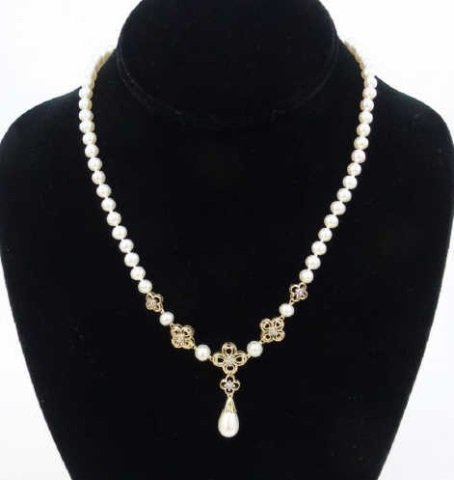 Estate Yellow Gold Diamond Baroque Pearl Necklace