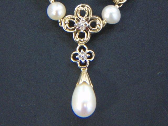 Estate Yellow Gold Diamond Baroque Pearl Necklace - 2