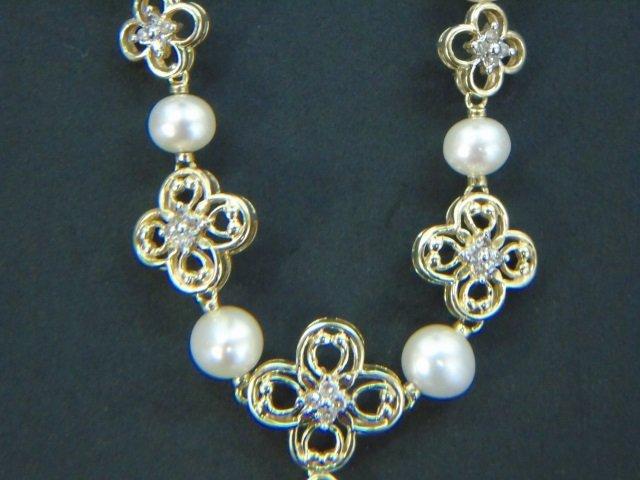 Estate Yellow Gold Diamond Baroque Pearl Necklace - 3