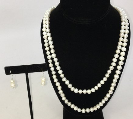 Baroque White Pearl 50 Inch Necklace & Earrings