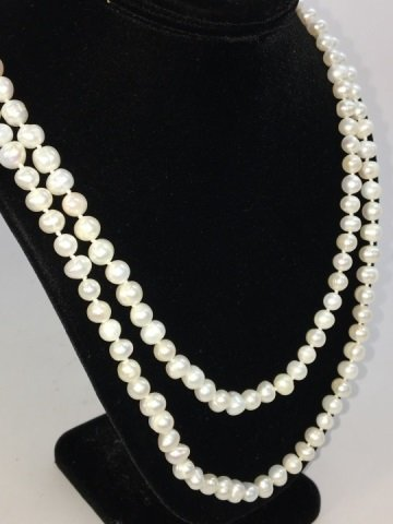 Baroque White Pearl 50 Inch Necklace & Earrings - 2