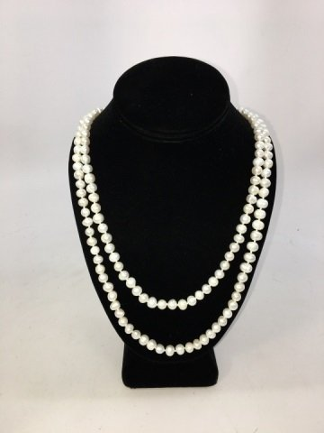 Baroque White Pearl 50 Inch Necklace & Earrings - 3