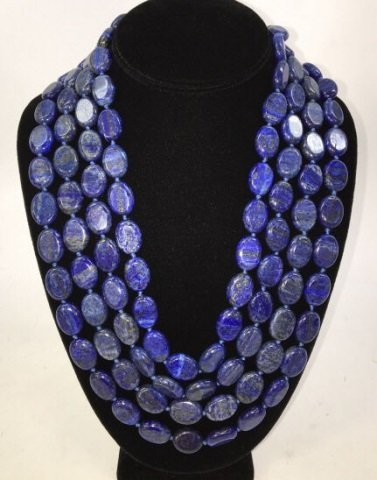 Carved Lapis Lazuli 100+ Inch Necklace Strand