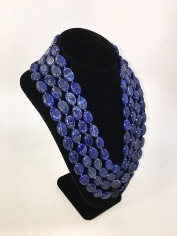 Carved Lapis Lazuli 100+ Inch Necklace Strand - 2