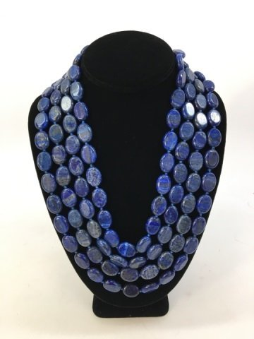 Carved Lapis Lazuli 100+ Inch Necklace Strand - 3