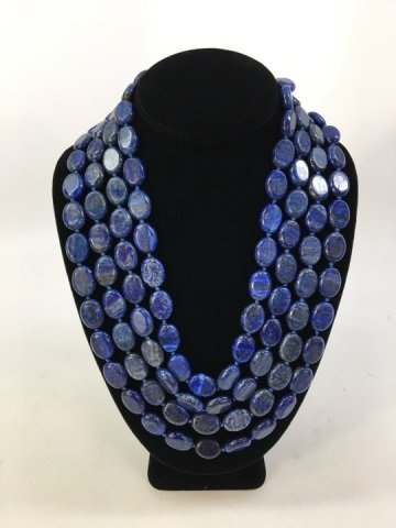 Carved Lapis Lazuli 100+ Inch Necklace Strand - 4