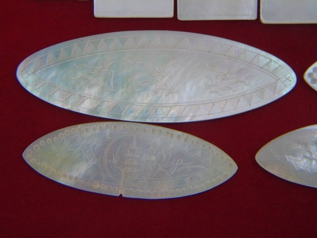 Antique Chinese Carved Mother of Pearl Game Pieces - 4