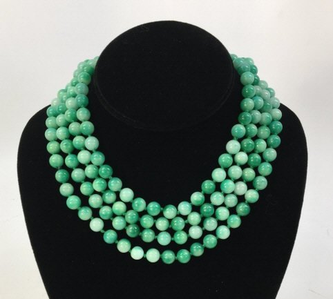 Pair 36 Inch Chinese Carved Jade Necklace Strands