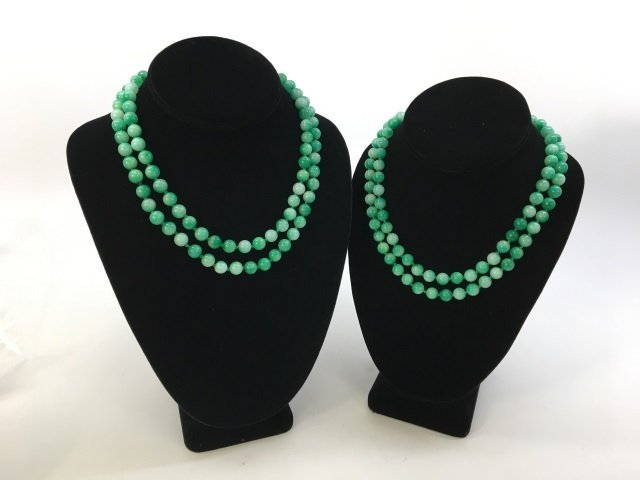 Pair 36 Inch Chinese Carved Jade Necklace Strands - 2