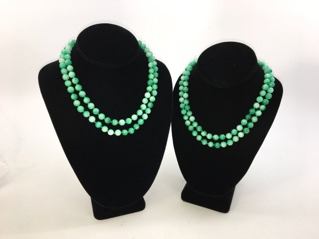 Pair 36 Inch Chinese Carved Jade Necklace Strands - 3