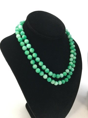 Pair 36 Inch Chinese Carved Jade Necklace Strands - 4