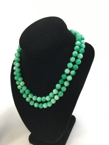 Pair 36 Inch Chinese Carved Jade Necklace Strands - 5