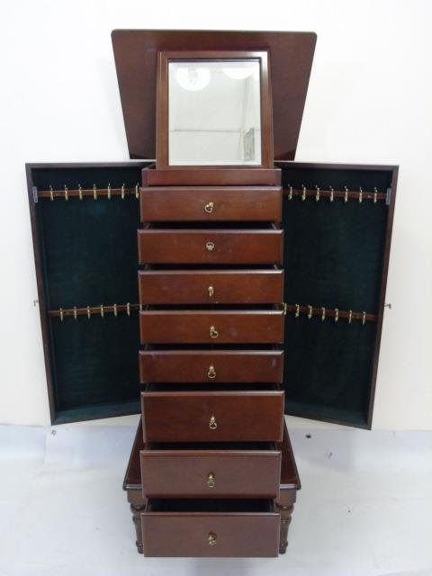 Contemporary Mahogany Ladies Jewelry Box Chest - 2