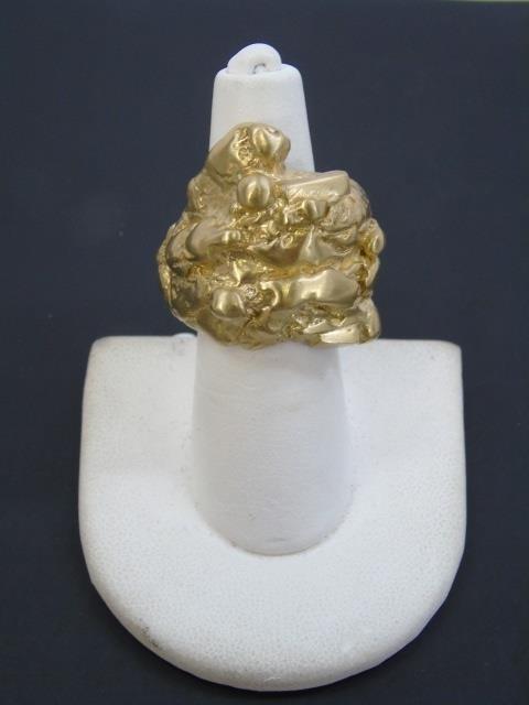 Contemporary Israeli Designer Gold Nugget Ring