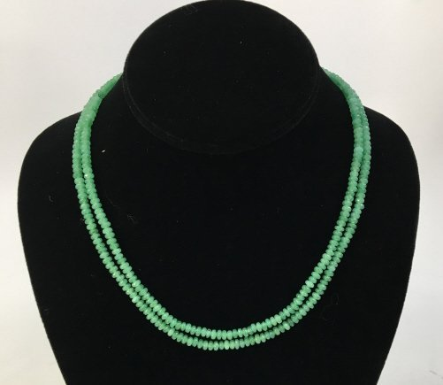 Pair Faceted Green Jadeite Bead Necklace Strands