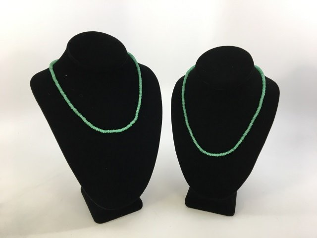 Pair Faceted Green Jadeite Bead Necklace Strands - 2