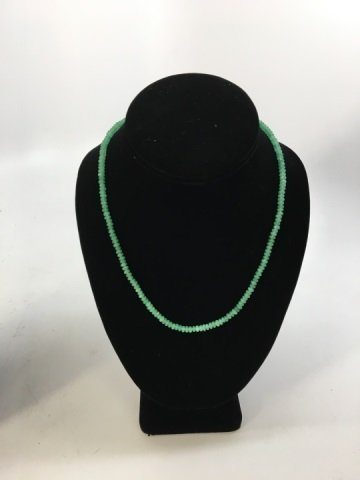 Pair Faceted Green Jadeite Bead Necklace Strands - 3