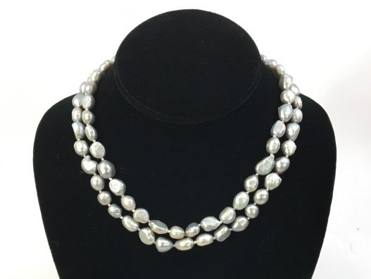 Pair Grey / Silver Baroque Pearl Necklace Strands