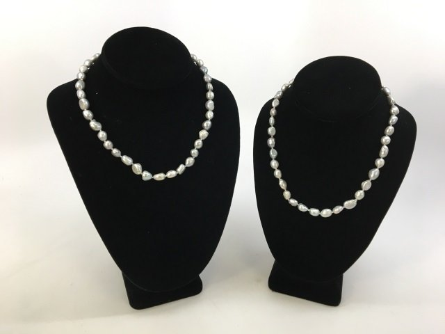 Pair Grey / Silver Baroque Pearl Necklace Strands - 2