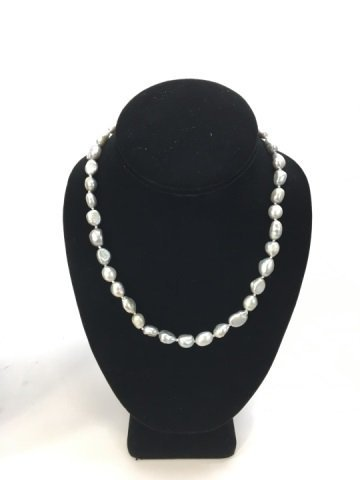 Pair Grey / Silver Baroque Pearl Necklace Strands - 3