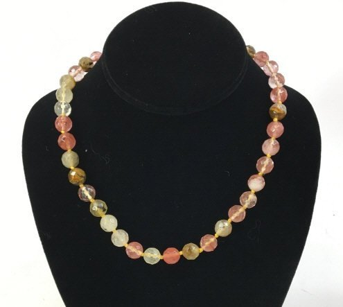 Hand Knotted Faceted Morganite Necklace Strand